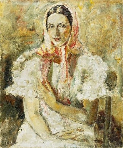 Stock Photo: 866-15040 Russian Peasant Girl, Olga Eliena. Ethel Walker (1861-1951). Oil on canvas. 75 x 62cm
