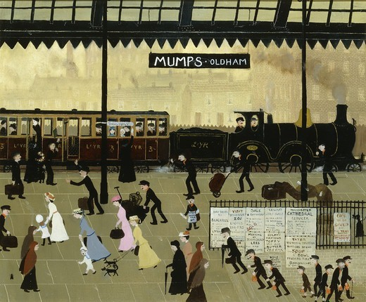 Stock Photo: 866-15061 Stop the Train' called Father, 'We're coming on it'.  Helen Bradley (1900-1979). Oil on canvasboard. 19 1/2 x 23 1/2in