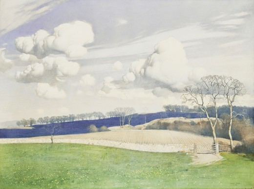 Stock Photo: 866-15479 March Clouds. Harry Bush (1883-1957). Tempera on canvas. 29 x 39 1/2in