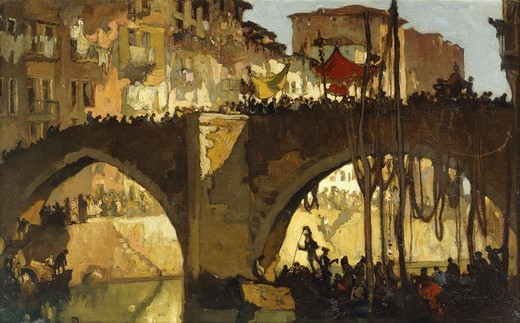 Stock Photo: 866-15649 St. Sebastian, Fete Day. Sir Frank Brangwyn (1867-1956). Oil on board. 23 1/2 x 37 1/2in