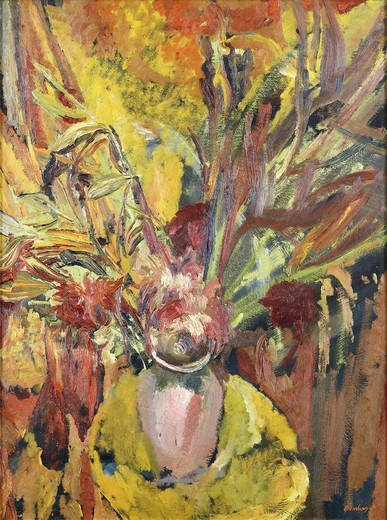 Irises in a Vase. David Bomberg (1890-1957). Oil on canvas. Signed and dated 1943. 42 x 31 1/2in : Stock Photo
