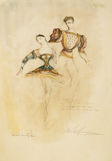 Stock Photo: 866-15839 Swan Lake (Tchaikovsky) 1952, Sadlers Wells (Petipa and Ivanov): Costume design for Pas de Six. Leslie Hurry (1909-1978). Pen, black ink and watercolour. Dated 1952. 54.5 x 38cm