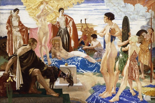 Stock Photo: 866-15902 The Judgment of Paris. Sir William Russell Flint (1880-1969). Oil on canvas. Dated 1935. 119.5 x 176cm