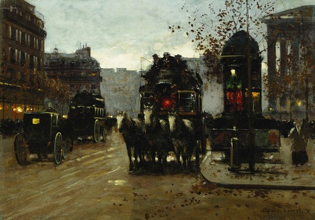Stock Photo: 866-16179 Paris at Night. Edouard Leon Cortes (1882-1969). Oil on canvas. 33 x 46cm.
