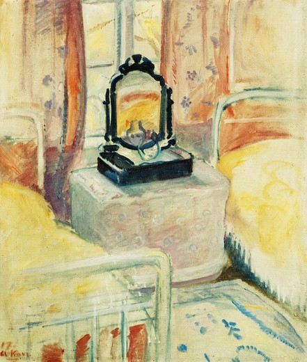 Stock Photo: 866-16311 The Bedroom. Arne Kavli (1878-1970). Oil on canvas. Dated 1917. 77.5 x 65.5cm