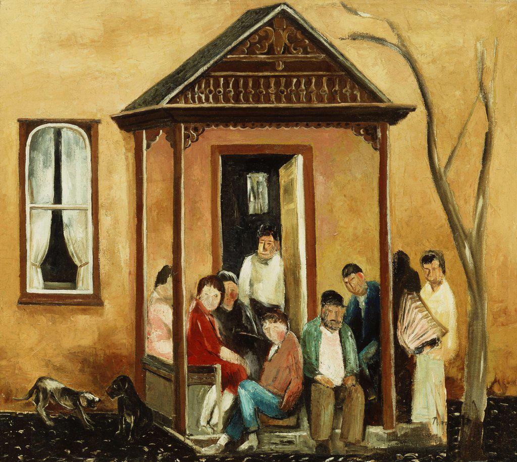 Santa Fe. Bror Julius Olsson Nordfeldt (1878-1955). Oil on canvas. Painted 1936-37. 84 x 94cm. : Stock Photo