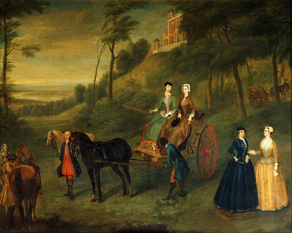 Stock Photo: 866-17931 Ladies and Maids of Honour in Greenwich Park: A Group Portrait of Juliana, Duchess of Leeds, Lady Charlotte Hamilton, Lady Isabella Tufton and Henrietta, Countess of Pomfret, all Wearing Riding Habits, with Groom and Horses in front of the Observatory. Charles Phillips (1708-1747). Oil on canvas. Dated May 16 1730. 91.4 x 114.3cm