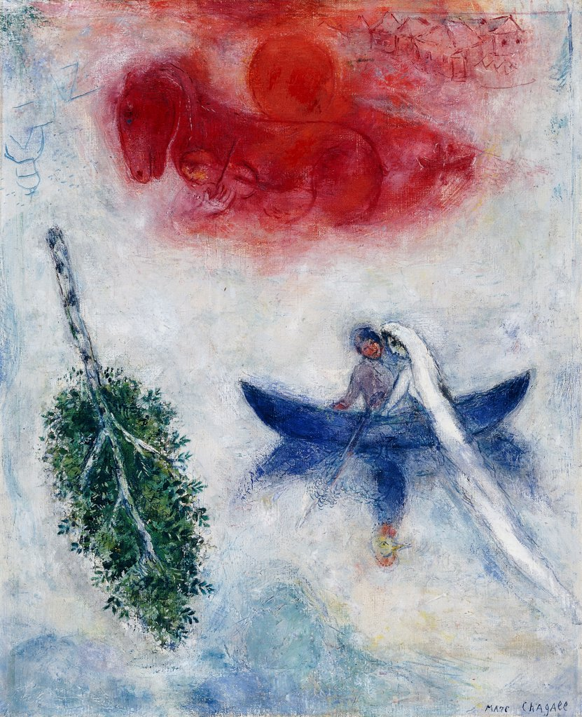 La Barque. Marc Chagall (1887-1985). Oil on canvas. Executed circa 1945. 56 x 46cm. : Stock Photo