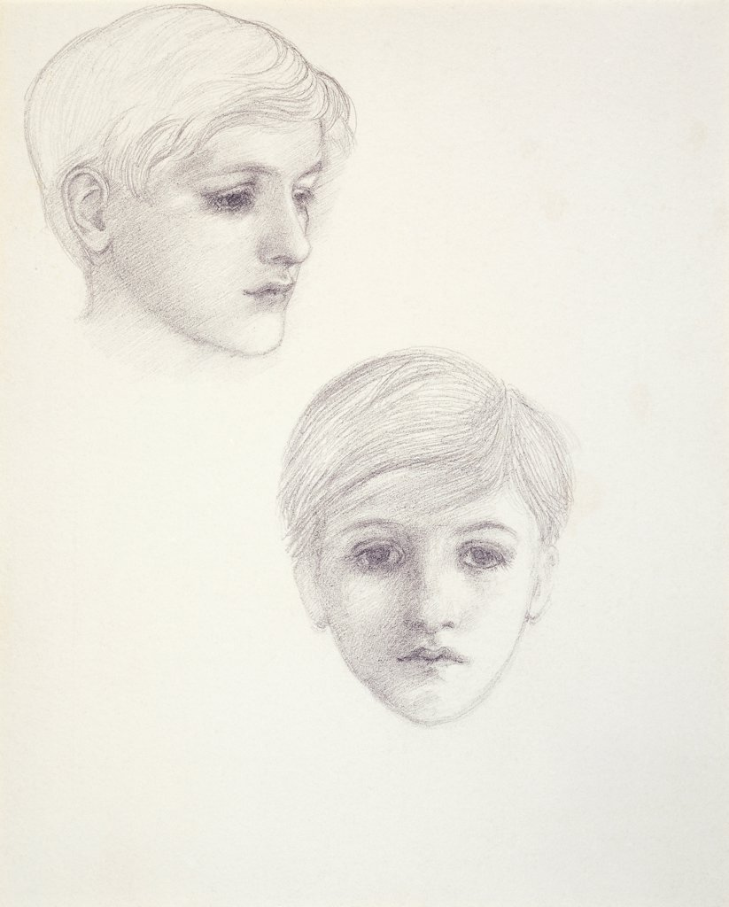 Stock Photo: 866-20798 Studies of the Artist's Son, Philip, as a young boy, c.1875. Edward Burne-Jones (1833-98). Pencil. 22.3 x 17.8cm.