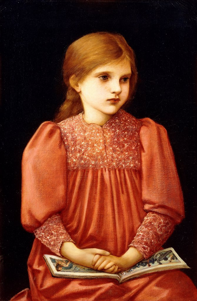Stock Photo: 866-21113 Little Dorothy Mattersdorf. Edward Burne-Jones (1833-1898). Oil on canvas. Signed and dated 1893. 64 x 42.5cm.