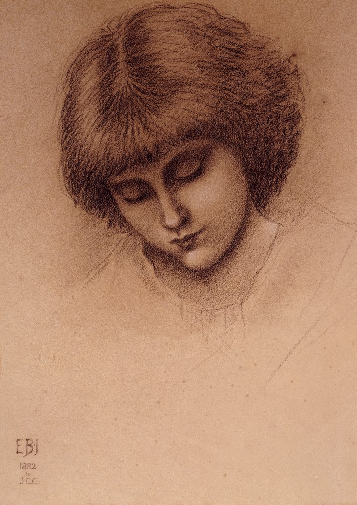 Stock Photo: 866-22040 A Study for 'King Cophetua and the Beggar Maid'. Edward Burne-Jones (1833-1898). Black chalk heightened with white on grey paper. 35 x 25.4cm.