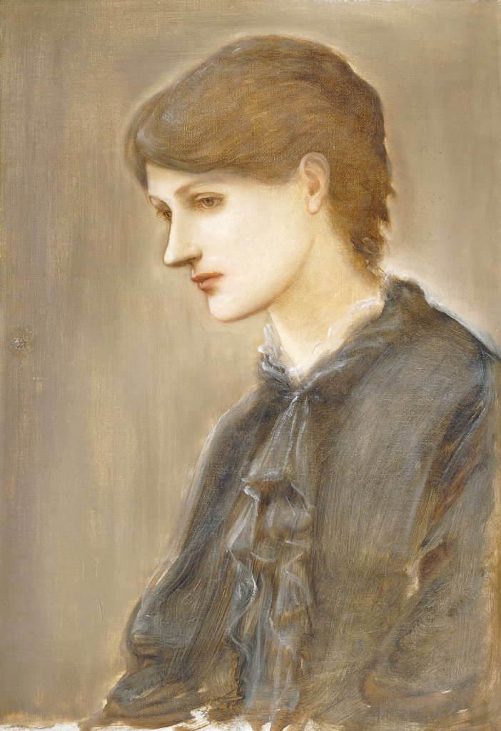 Stock Photo: 866-22064 Portrait of Mrs. William J. Stillman, nee Marie Spartali. Edward Burne-Jones (1833-1898). Oil on canvas. 69.2 x 48.3cm.