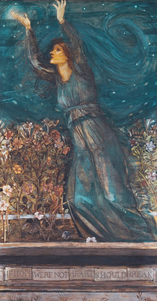 Stock Photo: 866-22113 Hope. Edward Burne-Jones (1833-1898). Watercolour with bodycolour. 167.5 x 91.5cm. Inscribed 'If hope were not heart should break'