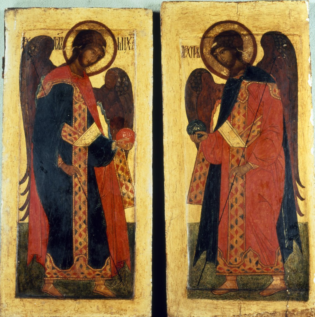 Archangels Michael and Gabriel, icon, UK, England, London, Christie's : Stock Photo