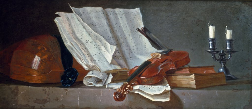 Musical Score on Reading Stand with Violin & Bow by Henri H. Roland de la Porte, painting, (1725-1793), UK, England, London, Christie's : Stock Photo