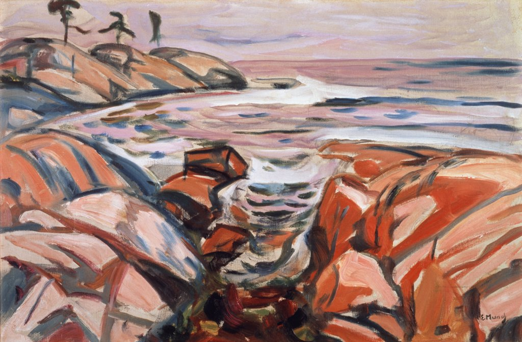 Stock Photo: 866-3085 Shore Landscape Hvitsten Edvard Munch (1863-1944 Norwegian) Oil On Canvas Christie's Images, London, England