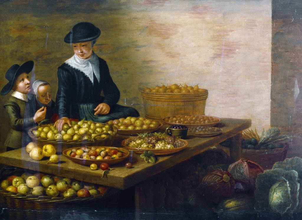 Stock Photo: 866-3097 Fruit and Vegetable Stall with Children Buying Fruit by Floris Gerritsz van Schooten, painting, (ca.1590-after 1655), UK, England, London, Christie's