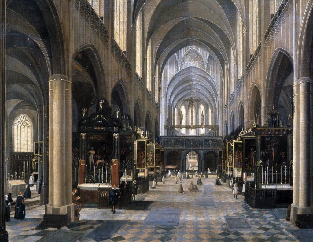 Stock Photo: 866-3114 Interior of Gothic Cathedral by Peeter Neeffs Younger, painting, (1620-1675), UK, England, London, Christie's