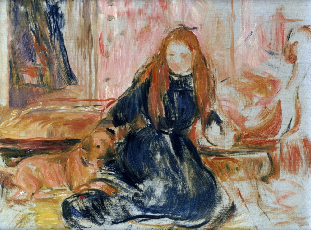 Girl Playing with Dog by Berthe Morisot, oil on canvas, (1841-1895) : Stock Photo