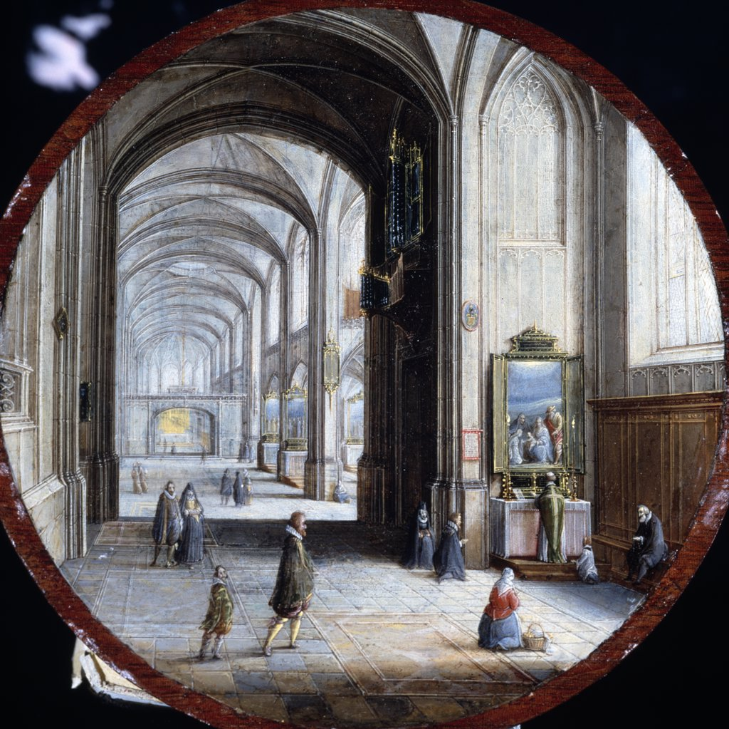 Interior of Gothic Cathedral, Mass at Side Altar by Hendrick van Steenwyck II, oil on wood panel, (1580-1649), UK, England, London, Christie's : Stock Photo