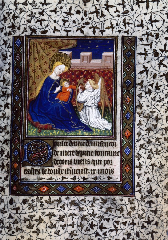Stock Photo: 866-3163 Nativity, ca.1450, Illuminated manuscript, UK, England, London, Christie's