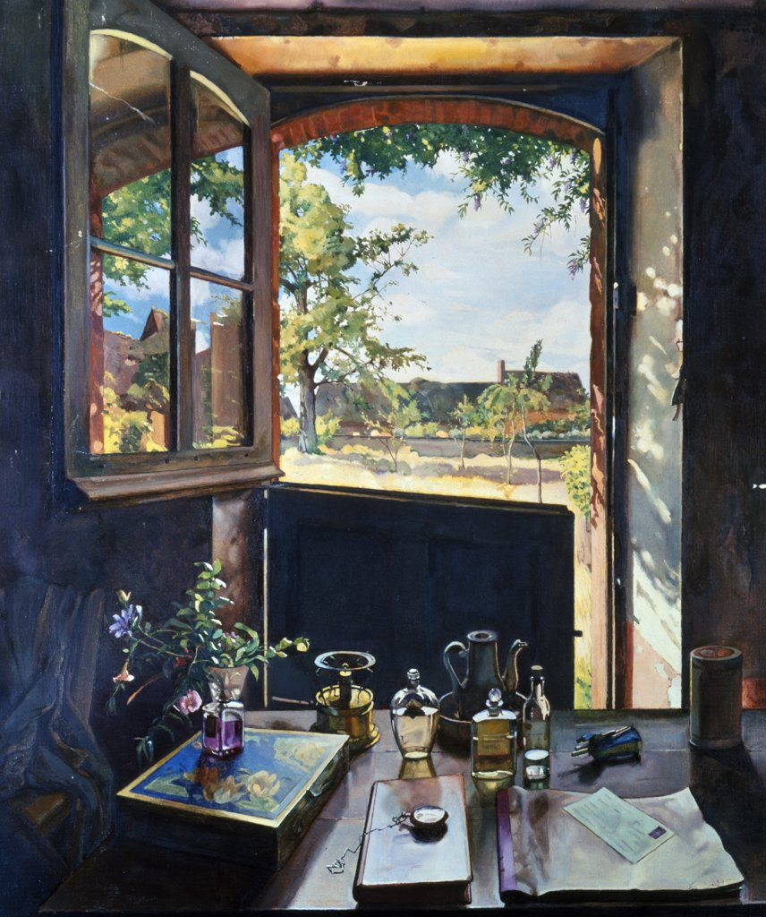 Open Door on Garden by Konstantin Somov, painting, (1869-1939), UK, England, London, Christie's : Stock Photo