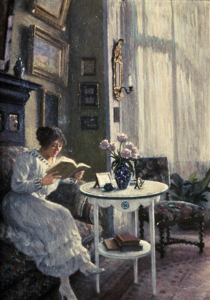 The Afternoon Read by Paul Gustav Fischer, (1860-1934), England, London, Christie's Images : Stock Photo