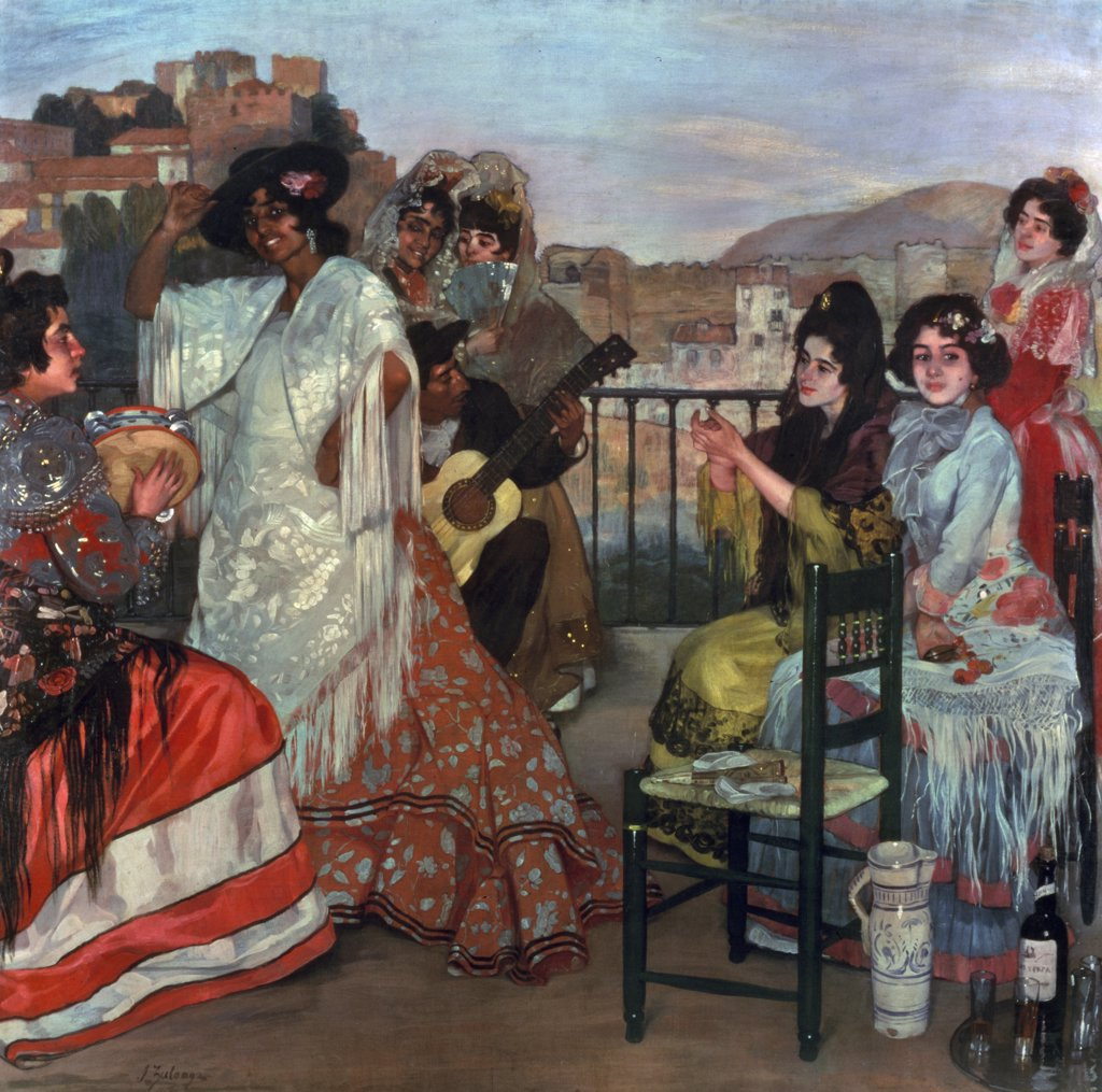 Stock Photo: 866-3195 Playing guitar on balcony in Granada by Ignacio Zuloaga, oil on canvas, (1870-1945), England, London, Christie's Images