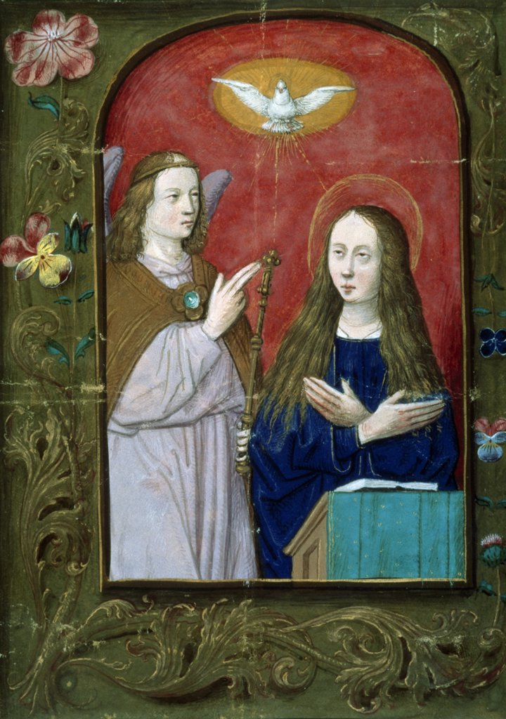 Stock Photo: 866-3234 Annunciation from Book of Hours, illuminated manuscript, England, London, Christie's Images