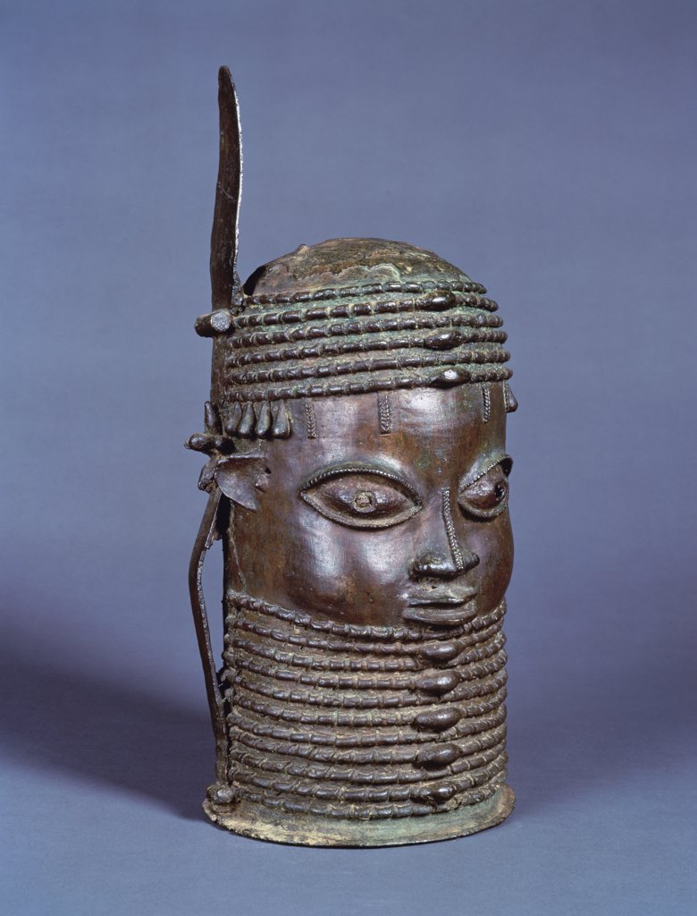 A Rare Owo Bronze Memorial Head