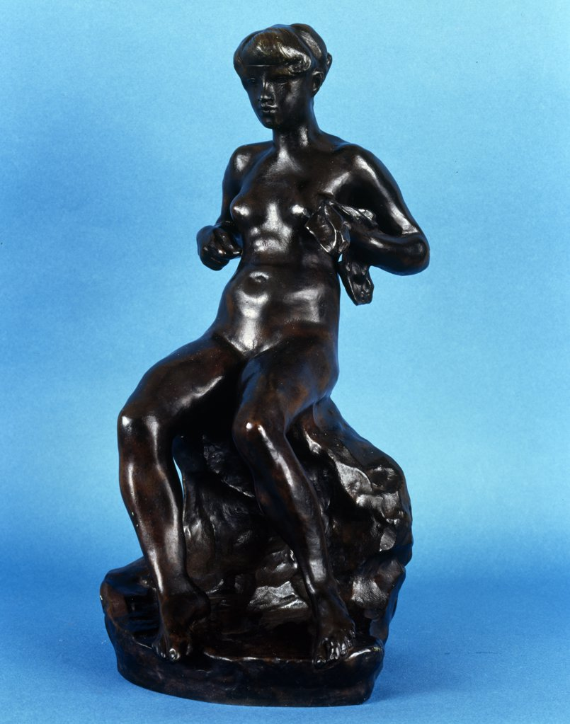 Baigneuse Zoubaloff by Auguste Rodin, sculpture, bronze patina, (1840-1917), UK, England, London, Christie's : Stock Photo