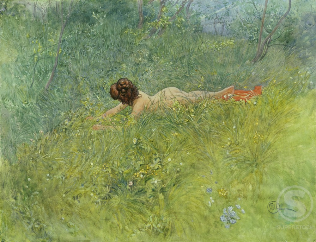 On The Grass Carl Larsson (1855-1919/Swedish) Watercolor  : Stock Photo