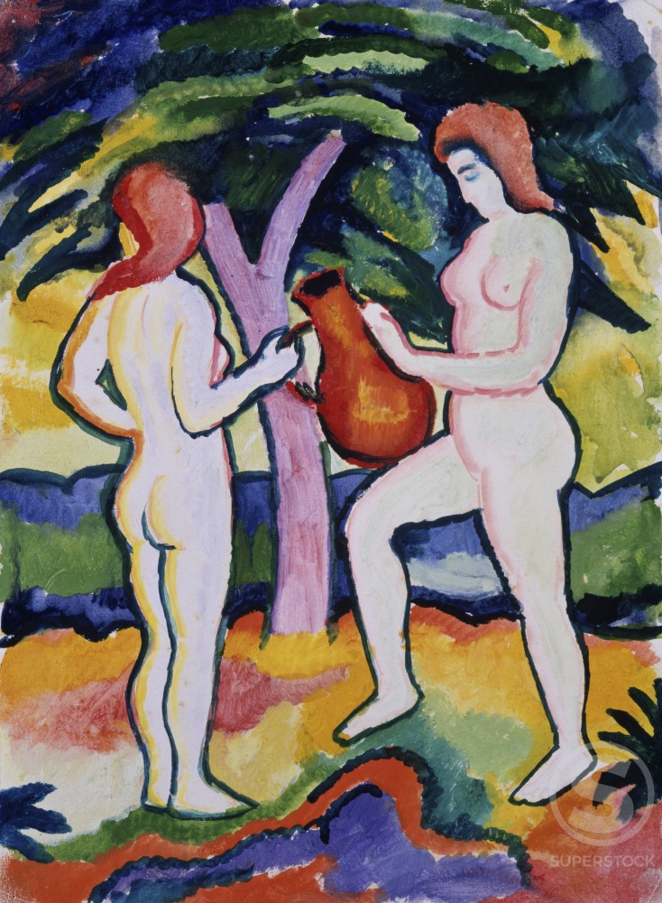 Stock Photo: 866-3409 Two Nudes with Jug