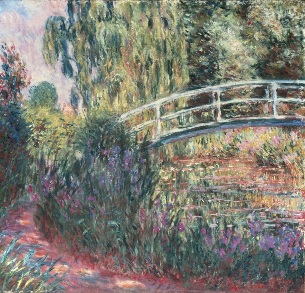 Stock Photo: 866-3436 The Japanese Bridge, Pond with Water Lilies