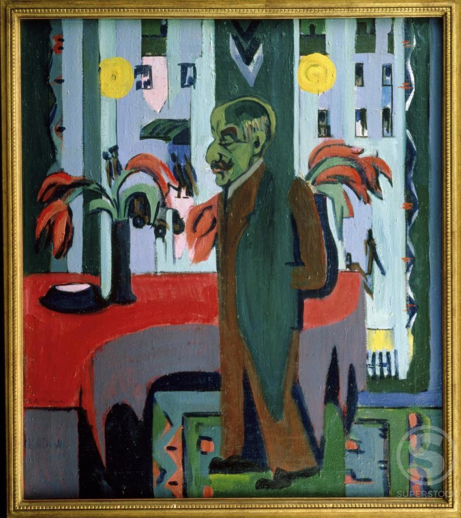 Max Liebermann in his Studio  (Max Liebermann in seinem Atelier)  Ernst Ludwig Kirchner (1880-1938/German)   Oil on canvas     : Stock Photo