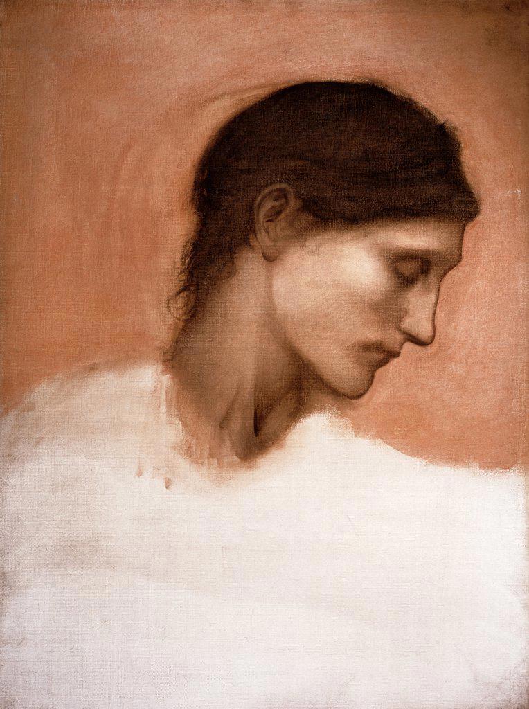 Stock Photo: 866-3549 Study of a Girl's Head Edward Burne-Jones (1833-1898 British) Christie's Images, London