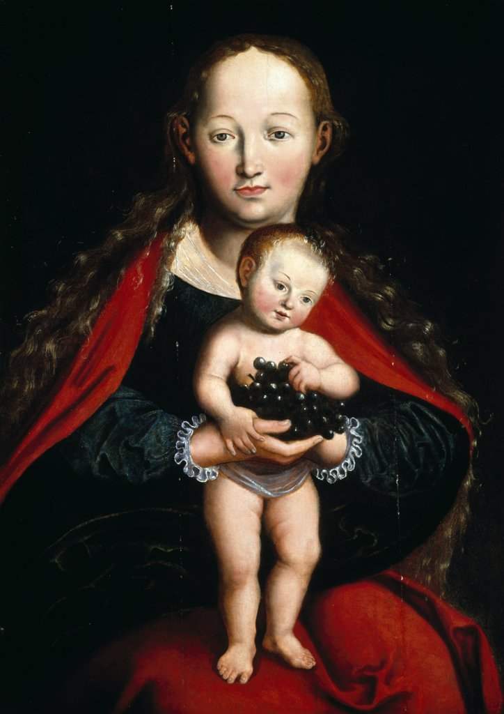 The Virgin and Child by Lucas Cranach the Younger, (1515-1586), UK, England, London, Christie's : Stock Photo