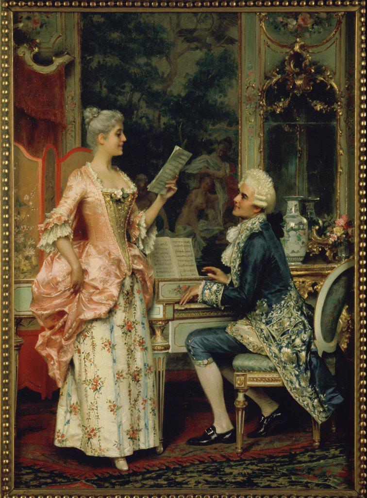 Stock Photo: 866-3569 The Singing Lesson c.1870 Arturo Ricci (1854-1919/Italian) Oil on canvas