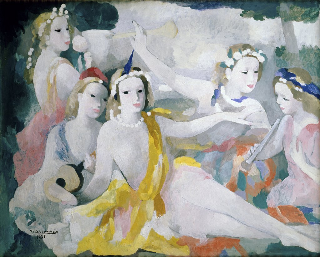 Stock Photo: 866-3572 Young Women with a Guitar and Flutes 