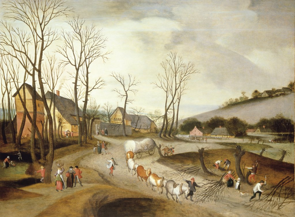 Stock Photo: 866-3576 Winter Landscape with Wagon and Peasants at Work 