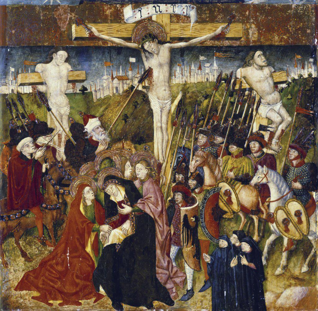 Stock Photo: 866-3581 Crucifixion  Circle of Jaime Baco Ja—mart (ca. 1413-1461/Spanish) Tempera on Wood Panel
