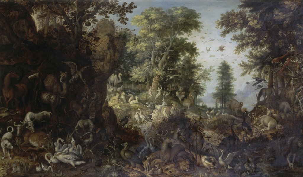Stock Photo: 866-3586 The Garden of Eden with Eve Tempting Adam