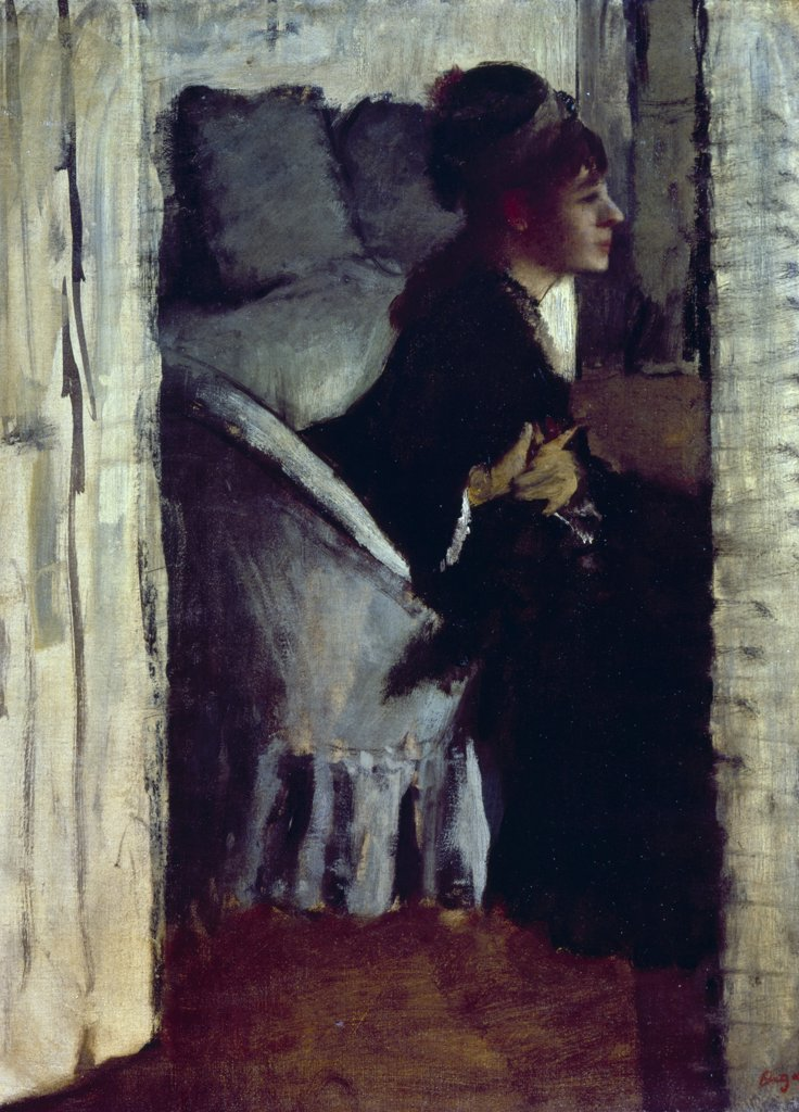 Stock Photo: 866-3591 Lady Putting on her gloves by Edgar Degas, (1834-1917), UK, England, London, Christie's