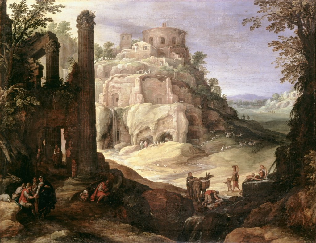 Stock Photo: 866-3592 Italianate Landscape With Classical Ruins 