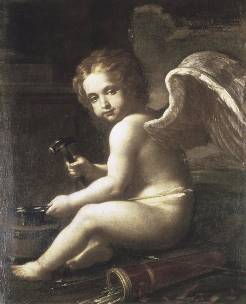 Stock Photo: 866-3658 Cupid Sharpening his Arrows