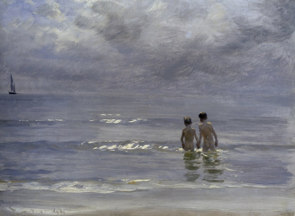 Stock Photo: 866-3665 Boys bathing on beach at Skagen, by Peder Severin Kroyer, 1899, oil on canvas, (1851-1909)