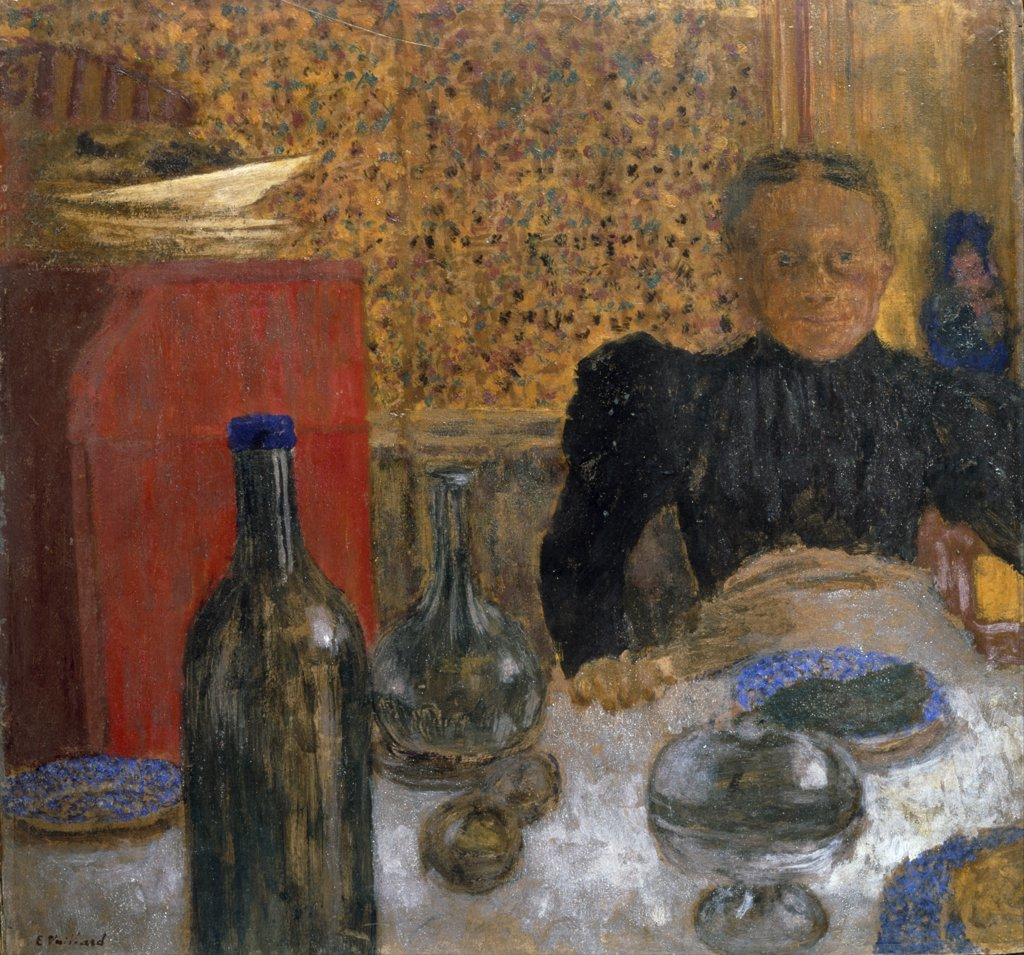 Madame Vuillard a Table, by Edouard Vuillard, oil on board, (1868-1940), England, London, Christie's Images : Stock Photo