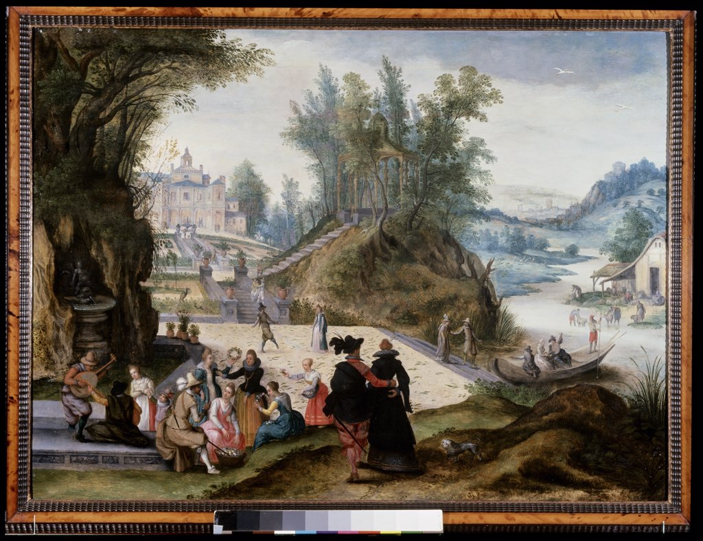 Months Of May And June - Extensive Wooded River Landscape With Elegant Figures Making Garlands Of Flowers