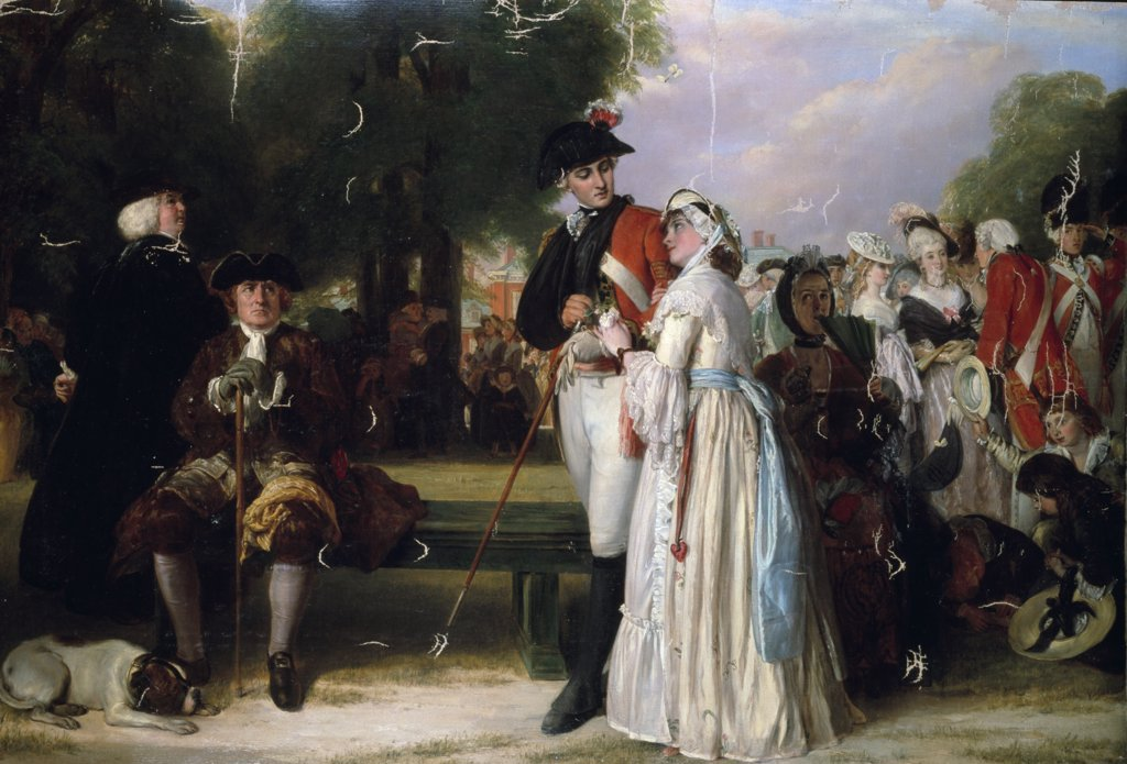 Stock Photo: 866-3703 The World Forgetting, Sunday Afternoon in Kensington Gardens, John Callcott Horsley, 1780, oil on canvas, (1817-1903), England, London, Christie's Images