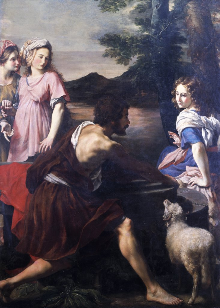 Stock Photo: 866-3714 Jacob Meeting Rachel at the Well of Haran, by Giacinto Gimignani, (1606-1681), England, London, Christie's Images